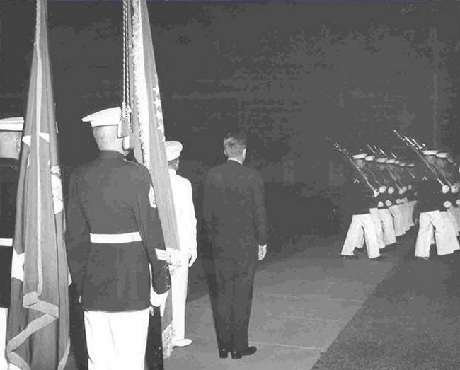 President Kennedy reviews the troops at an Evening Parade.